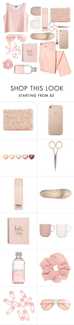 """""""305. ALL LIGHT PINK"""" by choosemaknae ❤ liked on Polyvore featuring MTWTFSS Weekday, Anastasia Beverly Hills, Chloé, Nine West, iittala, Lord & Berry, Punky Pins and J.Crew"""
