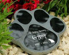 Engraved Granite Paw Print Pet Memorials
