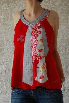 Top rouge de créateur fabriqué avec des cravates | Chèresloques, créateur de vêtements