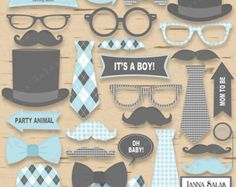 Little Man Photo Booth Props Teal Baby Blue Gray by DeReimerDeSign