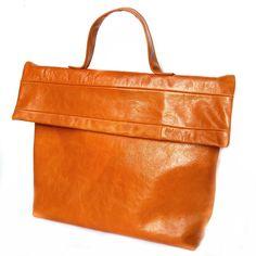 biege leather briefcase by klerovski