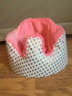 Gold dot with coral Minky bumbo cover by LittleMissPBcup on Etsy https://www.etsy.com/listing/258664864/gold-dot-with-coral-minky-bumbo-cover