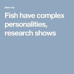 Fish have complex personalities, research shows