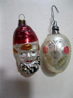 2 antique German oranments. Santa Head or by WishbookChristmas