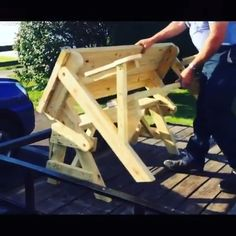 Neat Shit This was build by a from over the ! DIY Build diy furniture videos foldingpicnicbench Neat Shit Woodworkers woodworkingproject World Diy Furniture Videos, Diy Garden Furniture, Diy Outdoor Furniture, Wooden Outdoor Chairs, Wood Furniture, Furniture Ideas, Woodworking Projects Diy, Diy Wood Projects, Woodworking Classes