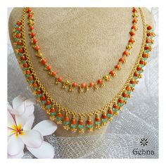 Pearl Necklace Designs, Gold Earrings Designs, Gold Jewellery Design, Bead Jewellery, Beaded Jewelry, Gold Designs, Beads Jewellery Designs, Simple Necklace Designs, Coral Jewelry