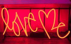 Curtis Kulig, mixed media, Medium Red Love Me Neon