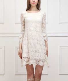 Reborn Collection White Flower Lace Ruffle-Hem Three-Quarter Sleeve Dress | zulily