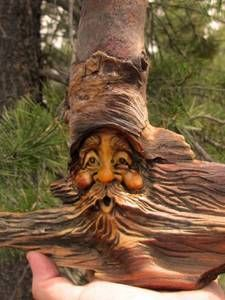 Tree Faces Tree Art   Tree-Wood-Gnome-Carving-Forest-Face-Knot-Head-Hobbit-Rustic-Spirit-Log ...