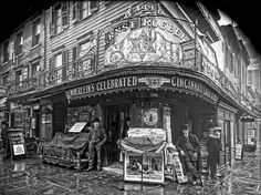 New York City 1908 -  champion wrester Ernst Roeber (L) and his saloon on 6th Ave. Amazing details.