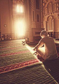 Silent Moment at the Mosque - Columns and Pillars | IslamicArtDB.com