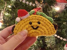 Santa Taco Ornament by yummypancake on Etsy Nerd Crafts, Fun Crafts, Crochet Cross, Crochet Hats, Christmas Catering, Christmas Parties, Beading Patterns, Crochet Patterns, Crochet Bookmarks