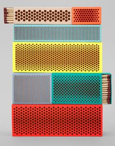 Pattern Danish design house HAY worked with Swedish designer Clara von Zweigbergk and American product designer Shane Schneck to rethink the boring matchbox in a collaboration called Strike. Found on Design Crush, via Design Milk Hay Design, Vintage Design, Grafik Design, Brand Design, Blog Design, Creative Design, Danish Design, Textures Patterns, Pantone