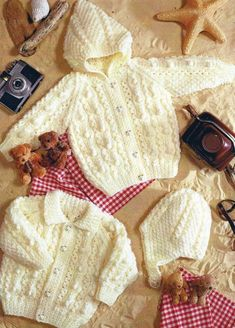 PDF Digital Download Vintage Knitting Pattern Two Baby Toddler Child s Jackets Cardigans Hood or Collar Helmet 16-24 Aran weight yarn £1