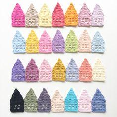 Little Crochet houses. ❉CQ #crochet #applique