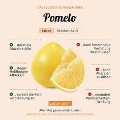 Pomelo- Have you ever eaten a pomelo? How to peel it properly we explain in this video: eatsmarter.de/video/pomelo-schaelen The infographic we explain here in more detail: eatsmarter.de/lexikon/warenkunde/obst/pomelo Source by gudrunliestvor - How To Stay Healthy, Healthy Life, Healthy Eating, Watermelon Smoothies, Food Facts, Diet Meal Plans, Going Vegan, Fruits And Veggies, Health And Nutrition