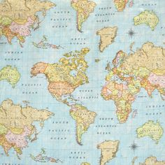 World Map Sky Blue 3 Designer Curtain Upholstery Cotton Fabric Material - World Map Print Canvas - Wide - World Map Sky Blue 3 Fabric Decor, Fabric Design, World Map Fabric, World Map Wallpaper, Curtain Designs, Blue Fabric, Cotton Fabric, Fabric Material, Printing On Fabric