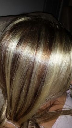 Blonde with red brown lowlights
