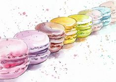 Macaroons watercolor Print - Watercolor Painting - Wall Decor - Poster Giclee wall print - Home Wall decor - Baby nursery print - Kids room Watercolor Food, Watercolor Walls, Watercolour Painting, Painting & Drawing, Watercolor Wallpaper, Nursery Prints, Wall Prints, Fine Art Prints, Dessert Illustration