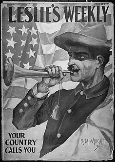 """""""Your Country Calls You.""""  Cover of Leslie's Weekly magazine for June 30, 1898, during the Spanish-American War."""