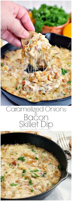 Wow your friends with this easy Caramelized Onion and Bacon Skillet Dip. This is a perfect dip recipe for parties or a great Father's Day recipe. Sweet onions and salty bacon mixed with lots of melted cheese make this dip rich, smokey and ooey gooey delicious!