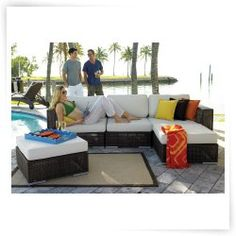 Hospitality Rattan Soho 5 Piece Deep Seating Sectional Conversation Set with Cushions - Rehau Fiber Java Brown