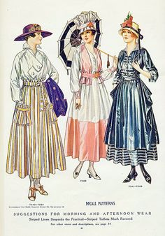July 1916 from McCall's magazine, morning and afternoon dresses. the middle dress has a crazy hat, if you ask me.