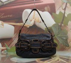AUTHENTIC FENDI NAVY LEATHER WOMAN SHOULDER BAG #Fendi #ShoulderBag