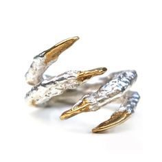 Pinky Pigeon Claw Ring with Gold Nails by Tessa Metcalfe Jewellery