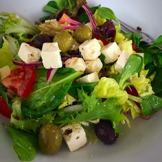 Salad with Greek cheese and olives