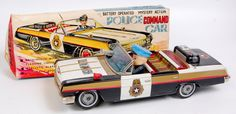 Yanoman Toys (Japan) tinplate Police Command Car, black and white with gold effect detailing, wit The Saleroom, Vintage Models, Police Cars, Car Ins, Knight, Auction, Japan, Black And White, Toys