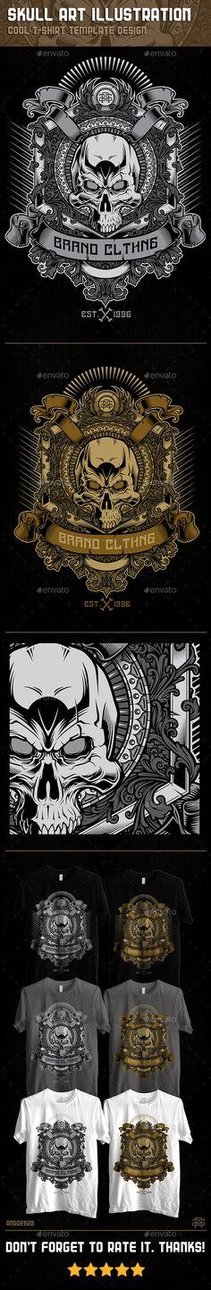3th Skull Art Illustration Tshirt Template Design