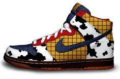 Nike's Toy Story hightop shoes. Obviously these shoes represent character Woody. I love how the designer incorporates the material Woody wears. I thought these shoes were cool looking. I see only guys of all ages wearing these.