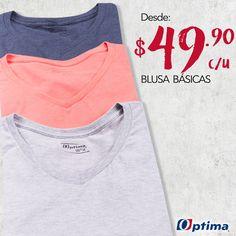 ¡Disfruta las blusas básicas a un excelente precio! #Optima #MujerOptima #Promociones
