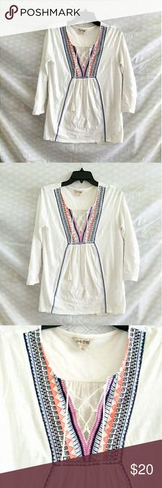 Lucky brand embroidered lace up tie shirt Lucky Brand embroidered lace up tie shirt. The lace up ties have cute tassels at the end. Size small. Excellent condition! Lucky Brand Tops