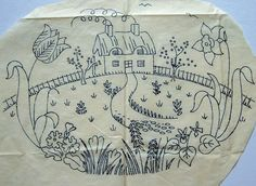 Vintage embroidery transfer english country cottage & garden motif