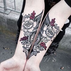 Black gray and red floral symmetrical forearm tattoos