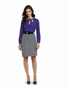 Great office look for the fall   Printed skirt with keyhole blouse  The Limited