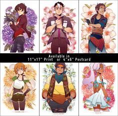 A+set+of+the+five+Voltron+Paladins+and+Allura+++Flowers,+printed+on+4x6+postcard-sized+cardstock.+The+full+set+includes:  Shiro Keith Lance Pidge Hunk Allura  Purchase+of+the+complete+set+provides+a+$5+discount+(compared+to+if+you+had+purchased+them+separately).  Full+poster-sized+prin...