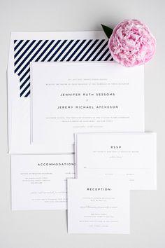 Classic navy blue striped wedding invitations with an urban feel | Shine Wedding Invitations
