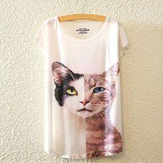 Women T-Shirt Cute Cat 04