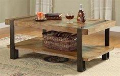 Riverside Furniture Riverside Sierra Rectangle Cocktail Table, Oak, Mindi Veneer and Wood with Metal Legs, 48 inches
