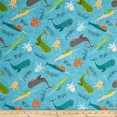 Wilmington Under the Ocean Blue Large Sea Creature Toss Blue from @fabricdotcom  Designed by Katie Doucette for Wilmington Prints, this cotton print collection will transport you to the seaside with relaxing colorways and whimsical prints. Perfect for quilting, apparel, and home decor accents. Colors include teal, green, orange, grey, tan, and white.