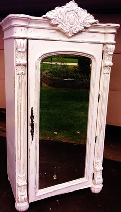 Vintage Pulaski French Distressed Mirrored Armoire by antique2chic, $745.00