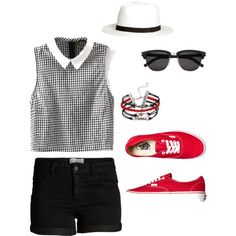 Red to go by turnerfive on Polyvore featuring polyvore, fashion, style, Pieces, Vans, H&M and Yves Saint Laurent