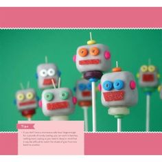 Robot cake pops, great party snacks