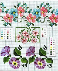 Ricamo e schemi a puntocroce gratuiti: Schemi a punto croce: Cornici e bordi con fiori colorati