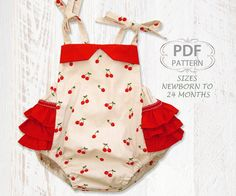 Sewing pattern for baby with instant download.    The Isabella Romper is a beautiful vintage styled baby romper with easy shoulder ties and