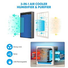 GESUNDHOME Personal Space Air Cooler, Upgraded Portable Arctic Mini Air Conditioner, Humidifier & Purifier with 3 Gear Speeds & Night Light for Office, Lounge, Bedroom - Uk Appliances Direct Best Humidifier, Group Home, Office Lounge, Personal Space, Arctic, Night Light, Home Improvement, Conditioner, Dishwashers