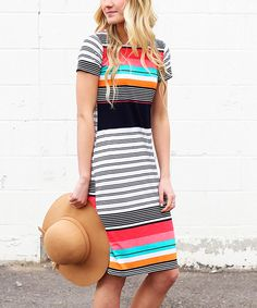 Sweet stripes in bright hues add playful charm to your warm-weather ensembles with this pretty dress. Stretch-blend fabric offers figure-flattering comfort. Size S: 39.5'' long from high point of shoulder to hemKnit95% polyester / 5% spandexHand washMade in the USA